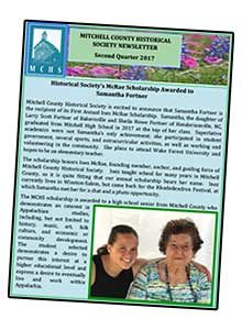 image of the front page of the MCHS 2nd quarter newsletter for 2017