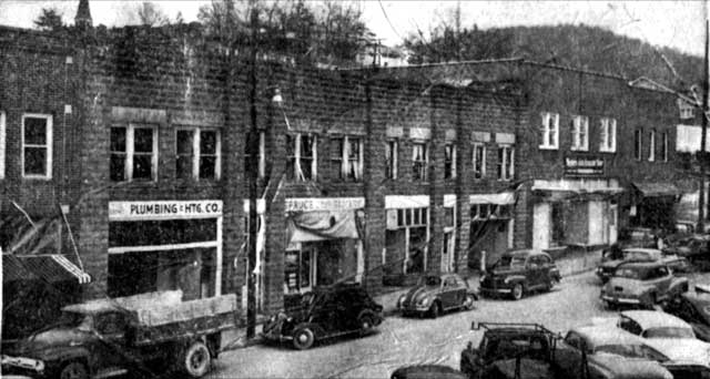 Lower Street businesses following the dynamite blast on New Year's Eve 1959.