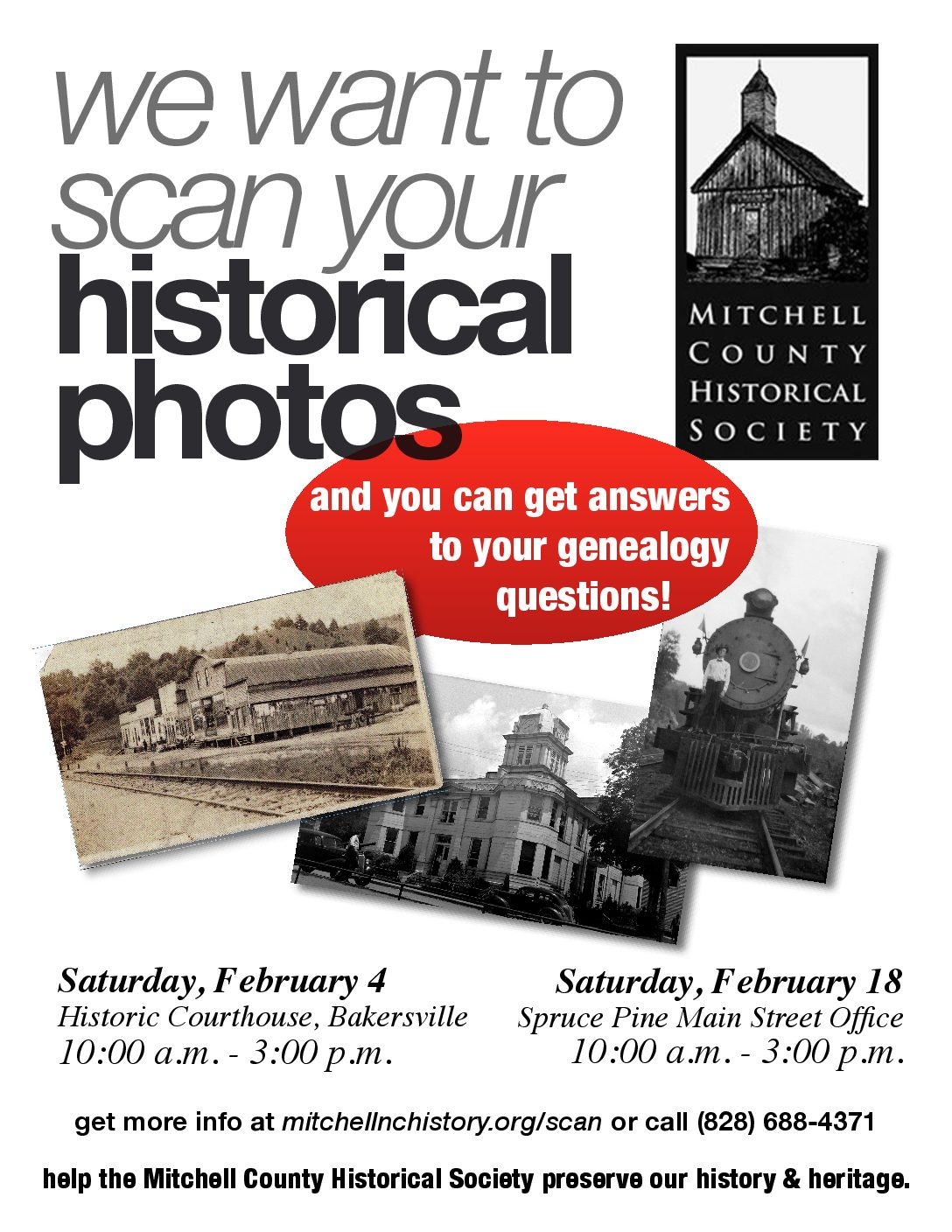 Scan Day This Saturday, February 18, in Spruce Pine