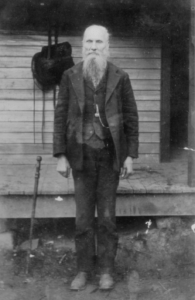 Pictured is John Tipton (1821-1909), the son of David Tipton and Ellen Patterson Tipton. John is the grandson of Major Jonathon Tipton III and Kesiah Robertson Tipton. He married Uranah Roberts Tipton and their children were Mary Tipton Garland, David Sulten Tipton, William Ninevah Tipton, Vicy Tipton Whitson, Elizabeth Tipton Hughes, Christopher Columbus Tipton, and Joseph A. Tipton.  John was the first postmaster of Tipton Hill and served in the Mexican War from1846 to 1848. He along with many others of the Tipton Family are buried in the Tipton Hill Cemetery.