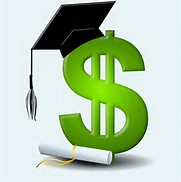 A dollar sign wearing a mortar board from a graduation cap and gown