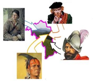 Graphic with a Native American, backwoodsman, European explorer, and Spanish Conquistador pointing into an outline of Mitchell County