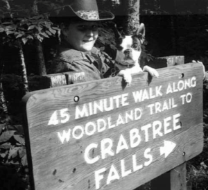 This 1970's photo shows signage directing hikers to Crabtree Falls on the Blue Ridge Parkway.