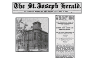 Caption from the St. Joseph Herald and a picture of the original Bakersville Jail.