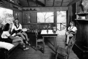 Girls at Camp As-You-Like-It enjoyed comfortable accommodations in cabins located on the mountainside. The cabins had colorful names like Squirrel's Nest, Tree Top, Owlette, and Trail's End. Amid transplanted wild owers and ferns, lifelong friendships were made among the campers, as they enjoyed activities during one of two 4-week sessions each summer.