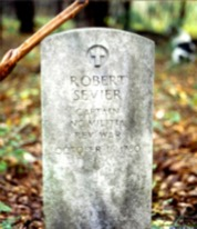 The gravestone of Robert Sevier who is buried on the Unimin Property near Bright's Trace.