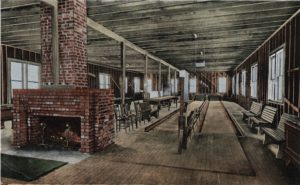 The billiard room at the Altapass Inn included a modern bowling alley as well as pool and other games.