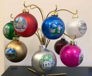 Photo of all the ornaments in the Mitchell County HIstorical Society Series