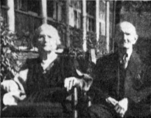 Mr. and Mrs. Topliff who retired to Spruce Pine from Kansas in 1920 and became the proprietors of the Topliff Hotel. They are pictured here on the porch of the hotel during their sixty-third wedding anniversary. Mrs. Dora Topliff died in 1941 and Mr. Charles Topliff in 1946. Their daughter, Mrs. Nina Topliff Dean helped run the hotel in the years after her parent's death. The Topliffs are buried in the Spruce Pine Memorial Cemetery.