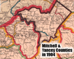 Map of Mitchell and Yancey Counties in 1904