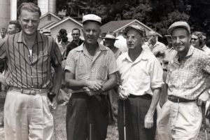 The first foursome to tee off at the Spruce Pine Golf Course in 1956 were Rev. Billy Graham, Ross Taylor – course designer, Dr. J. Rupert McGregor, and Lee Fisher.