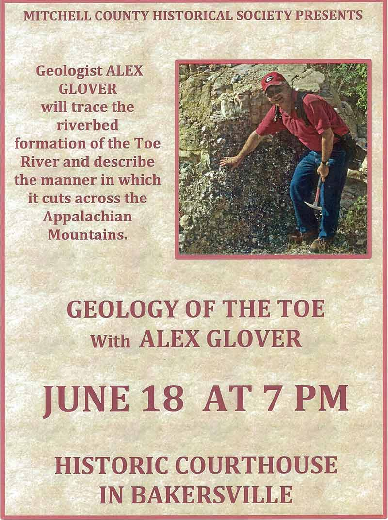 Alex Glover discusses the geology of the Toe River June 18 at 7 p.m. in Bakersville