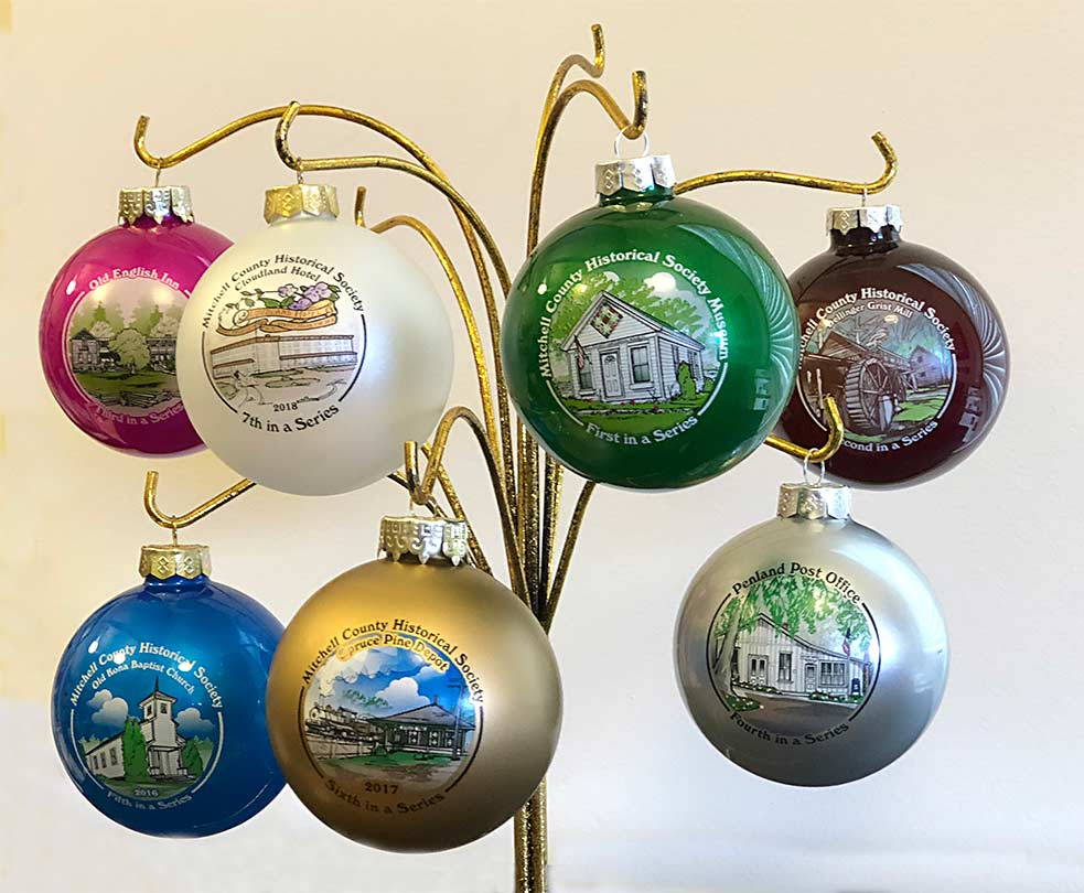 Photo of the Seven Mitchell County Historical Society Commemorative Ornaments for 2018