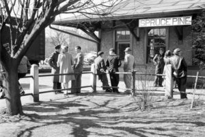 The Spruce Pine Depot pictured in the 1940's at the before passenger service was discontinued in the 1950's.