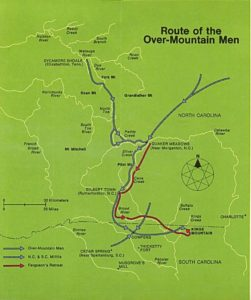 Map showing the route the Overmountain Men took to Kings Mountain