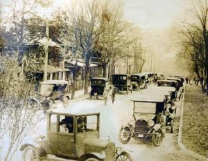 Photo of early cars on the main street in Bakersville, North Carolina in the early 1900s