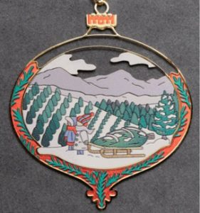 The Fraser Fir ornament from the North Carolina Museum of History commemorates North Carolina's Official Christmas Tree – The Fraser Fir - designated an official state symbol in 2005. Designed by N. C. artist Sidney Baynes, the ornament showcases one of the beautiful Christmas tree farms in the state.
