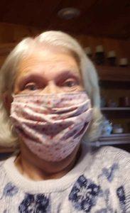 Photo of Rhonda Gunter wearing a homemade face mask