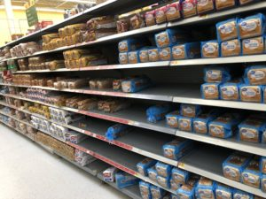 Photo of Walmart Bread Aisle March 30, 2020